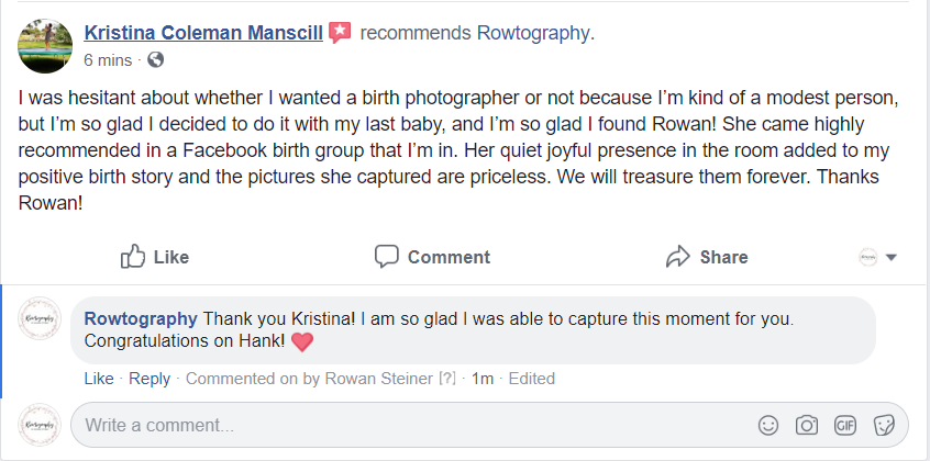 Review of birth photographer in Utah