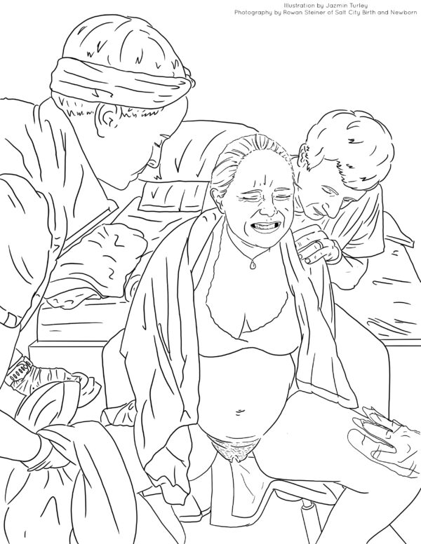 Coloring page of birthing woman in labor